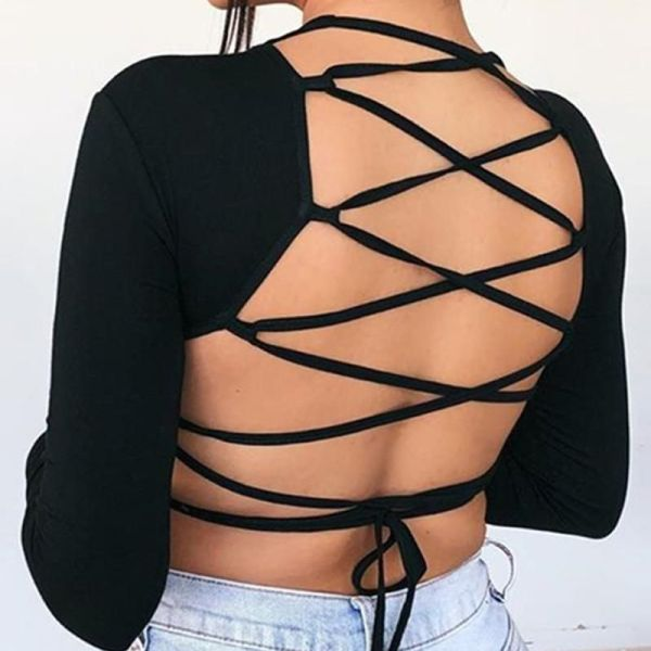 Solid Lace-Up Tied Backless Blouse 2