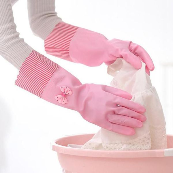 Bow Tie Lined Rubber Gloves 2