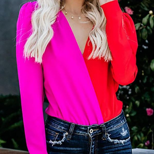 Colorblock Slim Fit Chiffon Long Sleeved Shirt 2