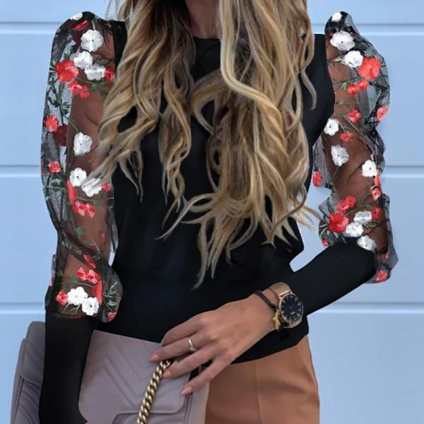 Floral Embroidery Patchwork Mesh Sleeve Blouse 2