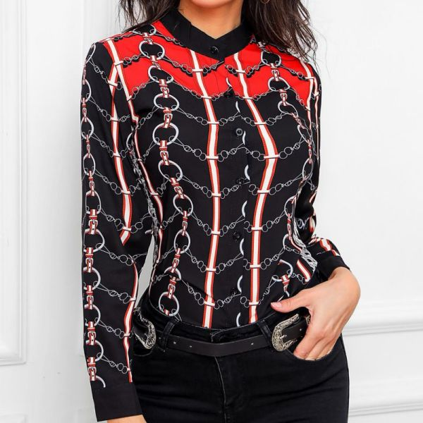 Chain Print Long Sleve Blouse 2