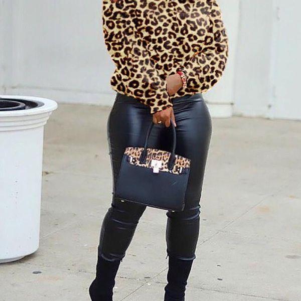 Leopard Print Cold Shoulder Crisscross Back Blouse 2