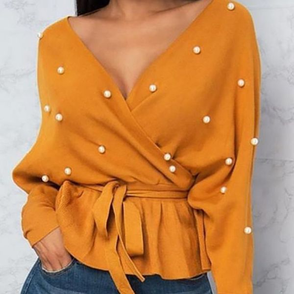 Beading Embellished Batwing Sleeve Belted Top 2