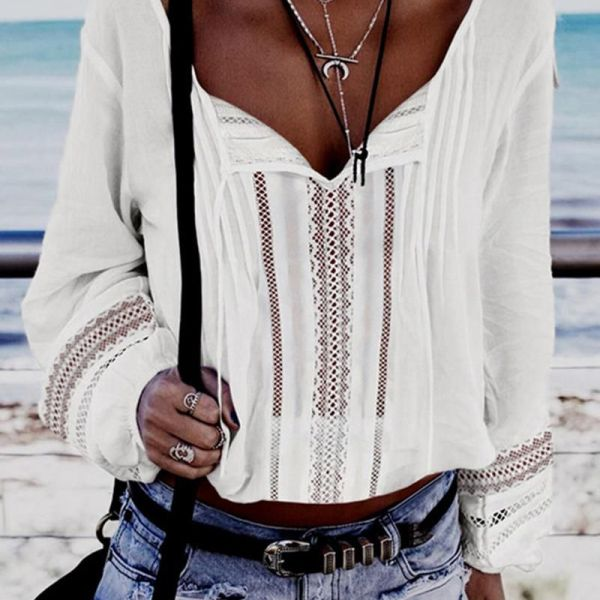 Solid Eyelet Hollow Out Crop Blouse 2
