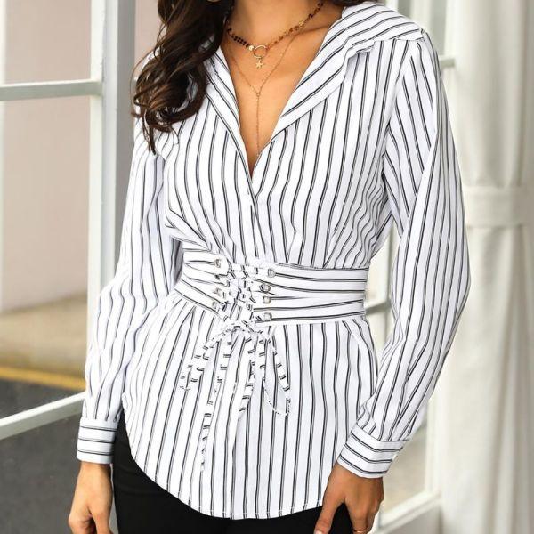 Stripes Lace Up Waist Long Sleeve Blouse 2