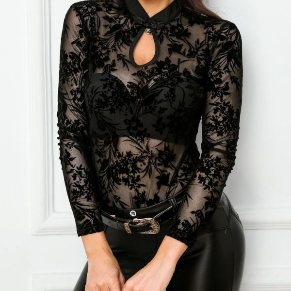 Sheer Mesh Embroidery See Through Blouse 2