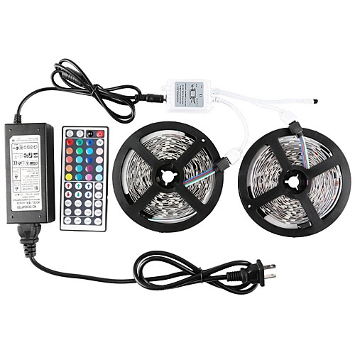 ZDM 2 x 5 m Waterproof  5050 RGB SMD 10mm Light Sets 300 LEDs with 44Key IR Controller 70W 12V6A Power Supply Soft Light Strip Kit 2