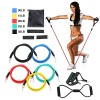 Resistance Band Set 12 pcs 5 Stackable Exercise Bands Door Anchor Legs Ankle Straps Sports TPE Home Workout Pilates Fitness Strength Training Muscular Bodyweight Training Muscle Building For Home 3
