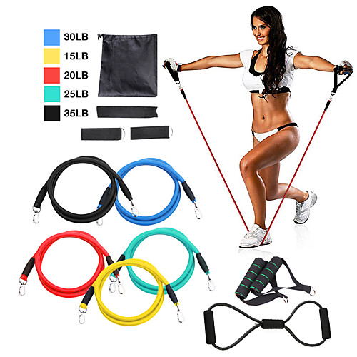 Resistance Band Set 12 pcs 5 Stackable Exercise Bands Door Anchor Legs Ankle Straps Sports TPE Home Workout Pilates Fitness Strength Training Muscular Bodyweight Training Muscle Building For Home 2