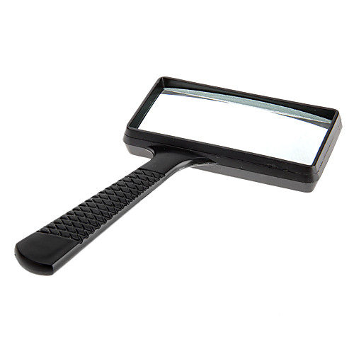 6X Rectangle Handheld Magnifying Glass Magnifier Microscope Plastic Black 2