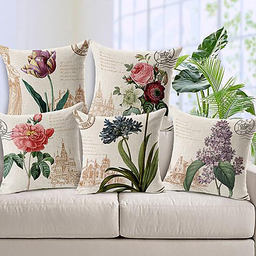 5 pcs Cotton / Linen Pillow Cover, Floral Country 2
