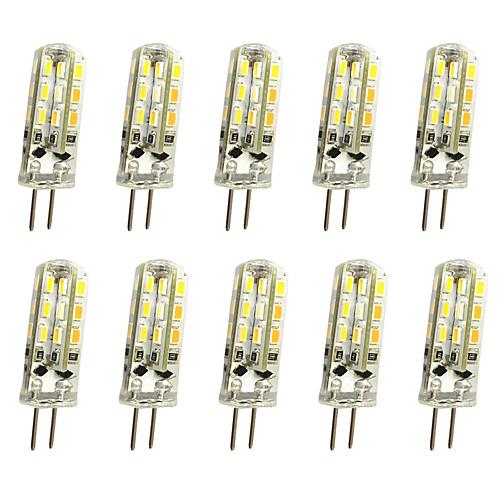 10pcs 1 W LED Bi-pin Lights 120 lm G4 T 24LED LED Beads SMD 3014 Decorative Warm White Cold White 12 V / 10 pcs / RoHS 2
