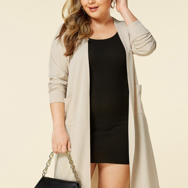 YOINS Plus Size Khaki Pocket Design Long Sleeves Cardigan 2