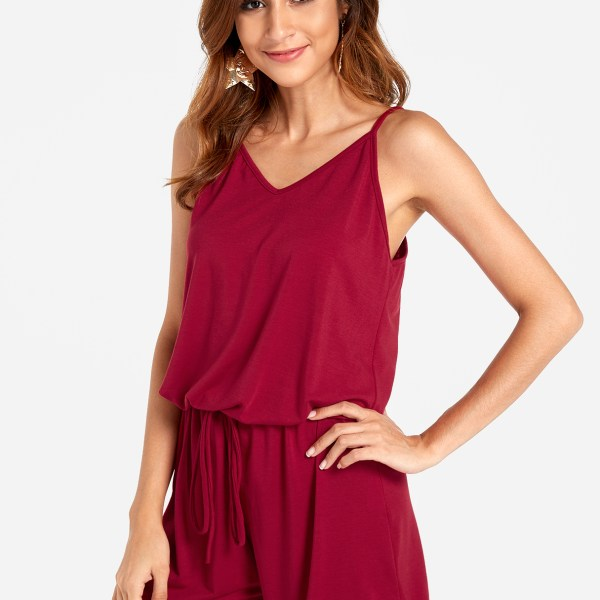 Burgundy Sexy V-neck Drawstring Waist Playsuit 2
