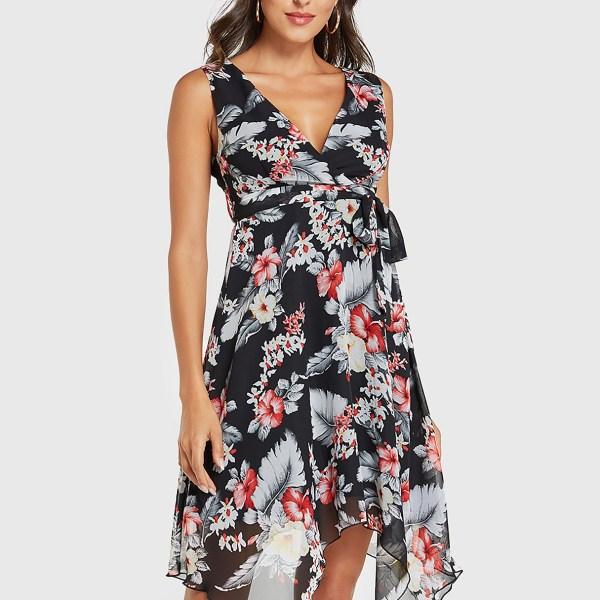YOINS Black Belt Design Random Floral Print Sleeveless Dress 2