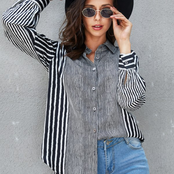 YOINS Black Stripe Front Button Turn Down Collar Blouse 2
