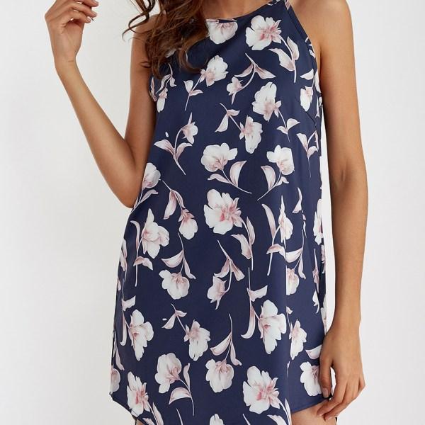 Navy Random Floral Print Curved Hem Sleeveless Mini Dress 2