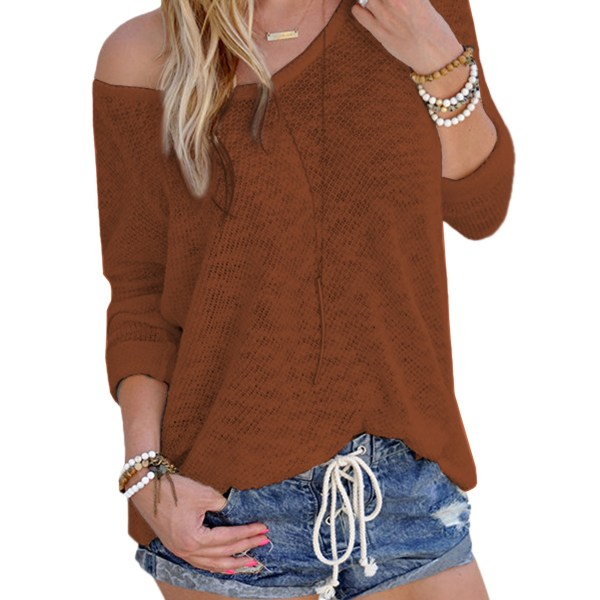 Coffee Sexy V Neck Long Sleeves Knitted T-shirt 2
