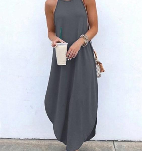Grey Vacation Style Loose Curved Hem Spaghetti Dress 2