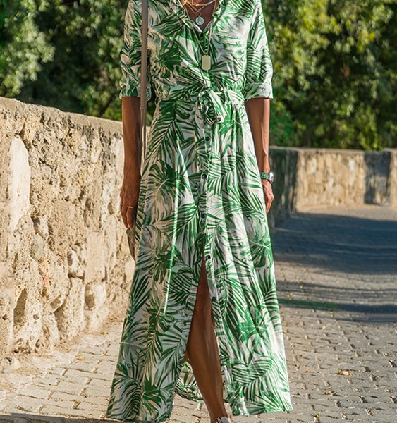 Green Belt Design Tropical Classic Collar Dress 2
