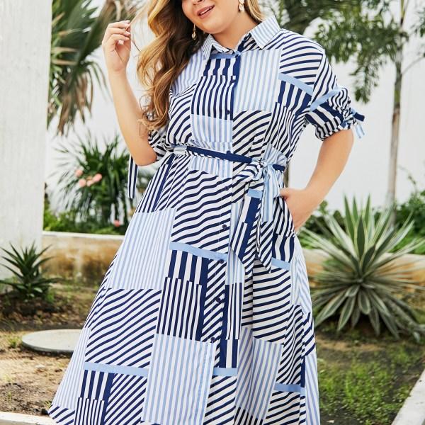 Plus Size Multi Color Stripe Belt Classic Collar Dress 2