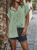 Button Design Striped Classic Collar Short Sleeves Blouse 3