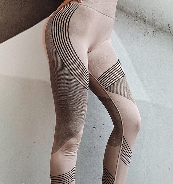 Pink Geometric High-Waisted Sporty Leggings 2