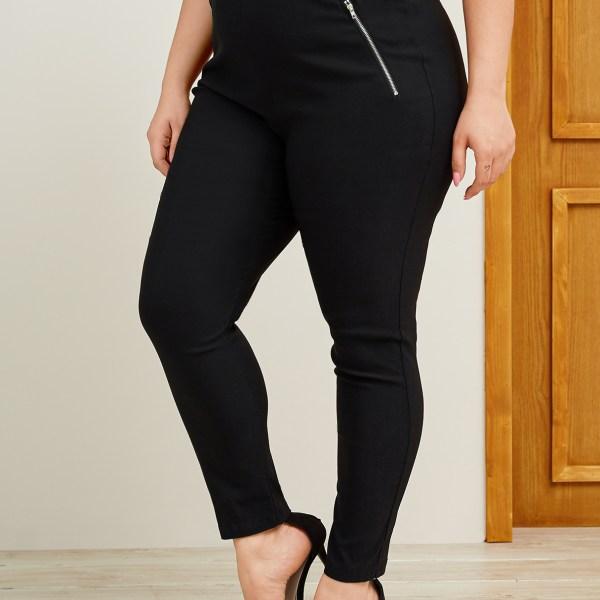YOINS Plus Size Black Zip Design Pants 1