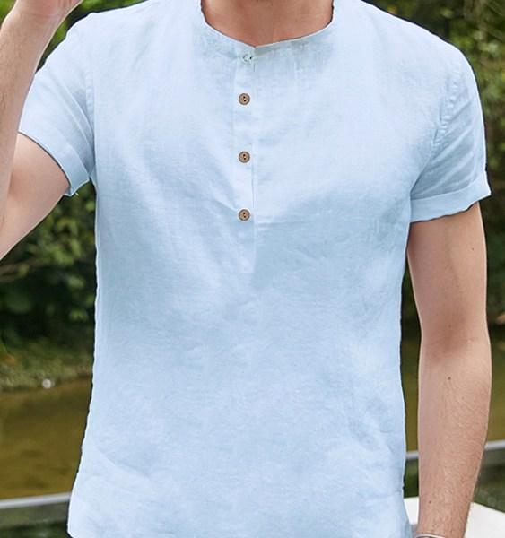 Men Summer Cotton Linen Breathable Slim Retro Shirt Hemp Plate Button Shirt 2