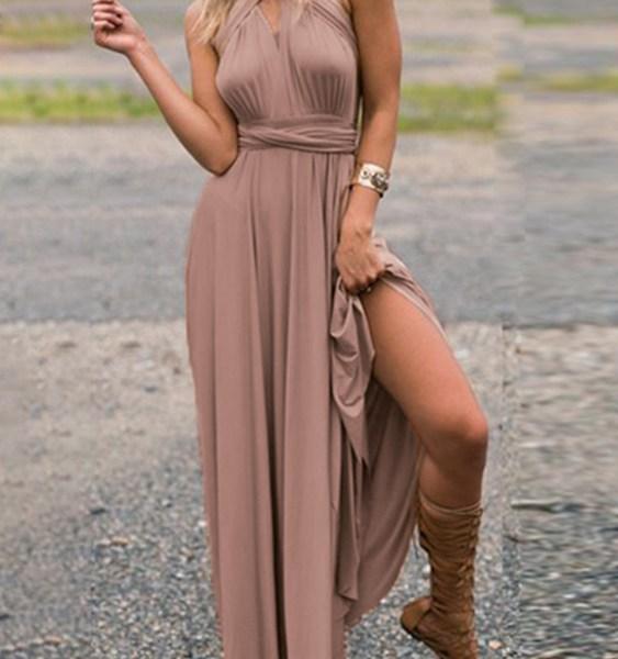 Sexy Adjustable Neck Strap Deep V Neck Sleeveless Dress 2