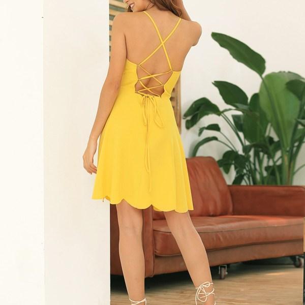 Yellow Backless Design V-neck Sleeveless Dress 2
