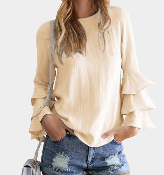 Yellow Round Neck Flared Sleeves Blouse 2