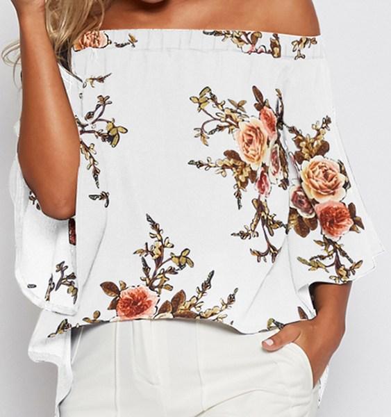 Random Floral Print Off Shoulder Slit Blouse in White 2