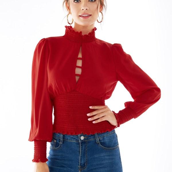 Red Frill Neck Smocked Lantern Sleeves Blouse 2