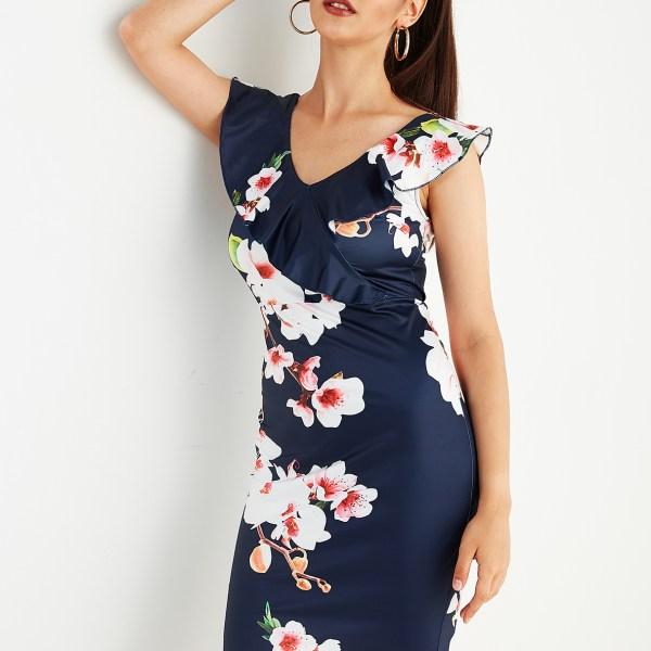 Navy Random Floral Print V-neck Ruffle Trim Dress 2