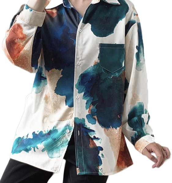Men Printed Long Sleeve Button Up Top Casual Baggy Blouse 2
