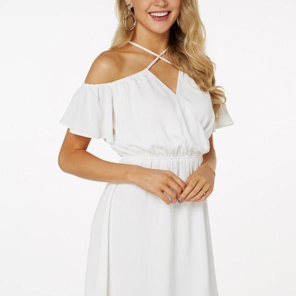 White Adjustable Neck Strap Halter Bell Sleeves Stretch Waistband Dress 2