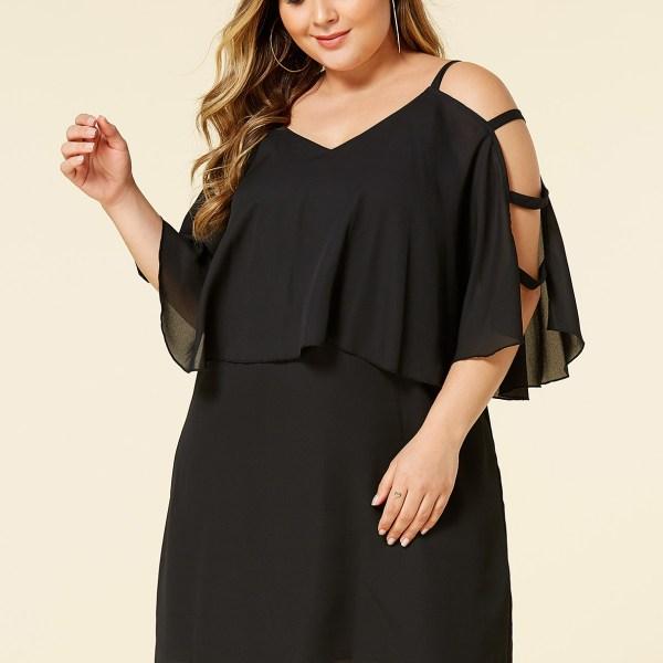 YOINS Plus Size Black Cut Out Overlay Dress 2