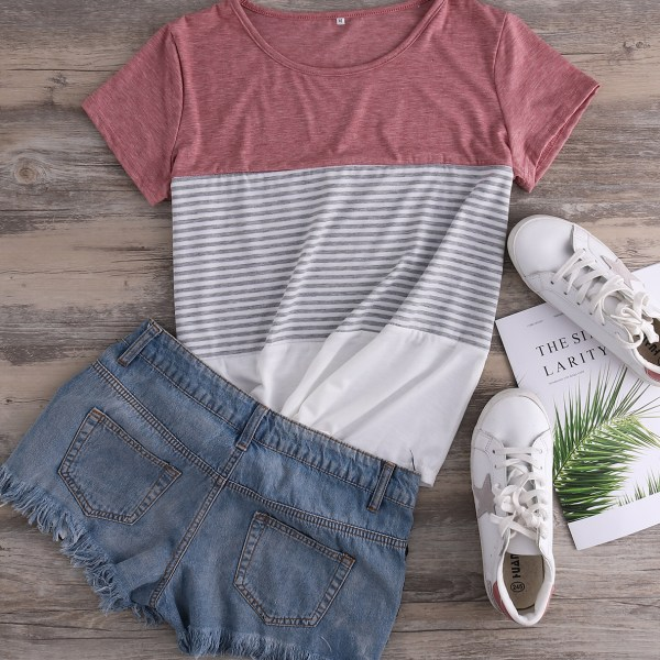Red Color Block Stripe Round Neck Casual Tee 2