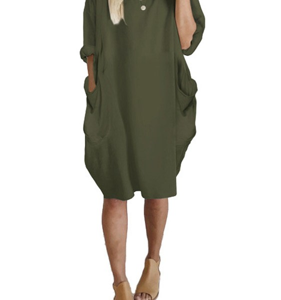Army Green Side Pockets Long Sleeves Oversize Dress 2