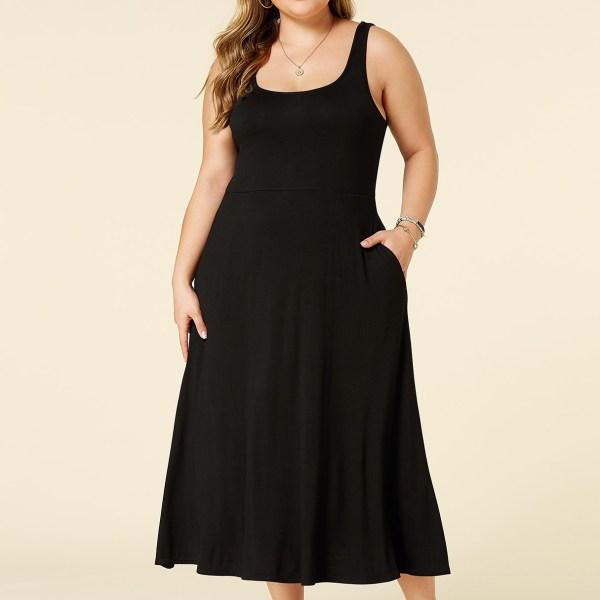 YOINS Plus Size Black Square Neck Backless Design Sleeveless Dress 2