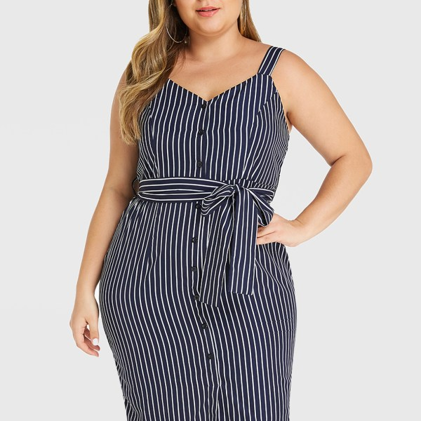 YOINS Plus Size Navy Stripe V-neck Sleeveless Dress 2