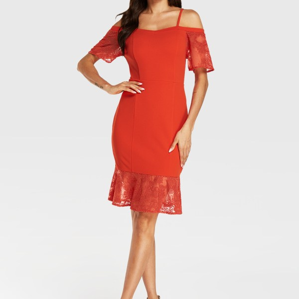 YOINS Red Spaghetti Strap Cold Shoulder Dress With Lace Hem 2