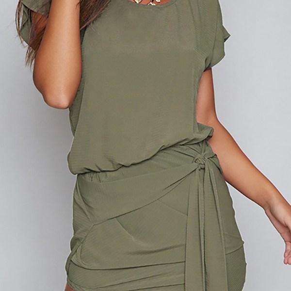 Self-tie Design Round Neck Short sleeves Dress in Green 2