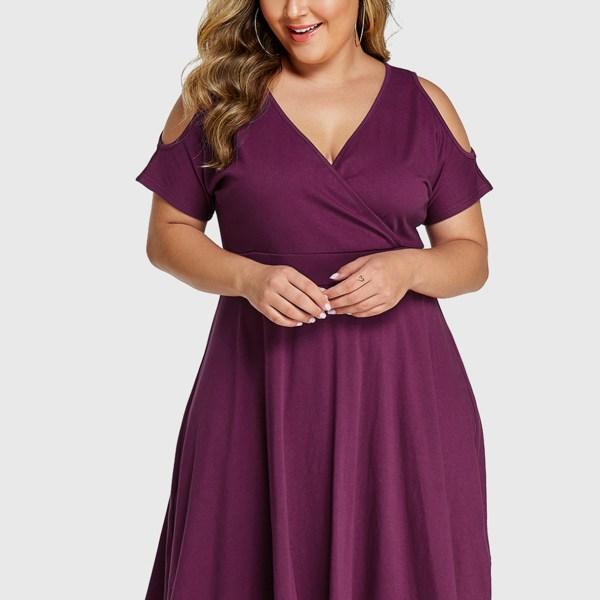 YOINS Plus Size Purple Wrap Design Cold Shoulder Dress 2