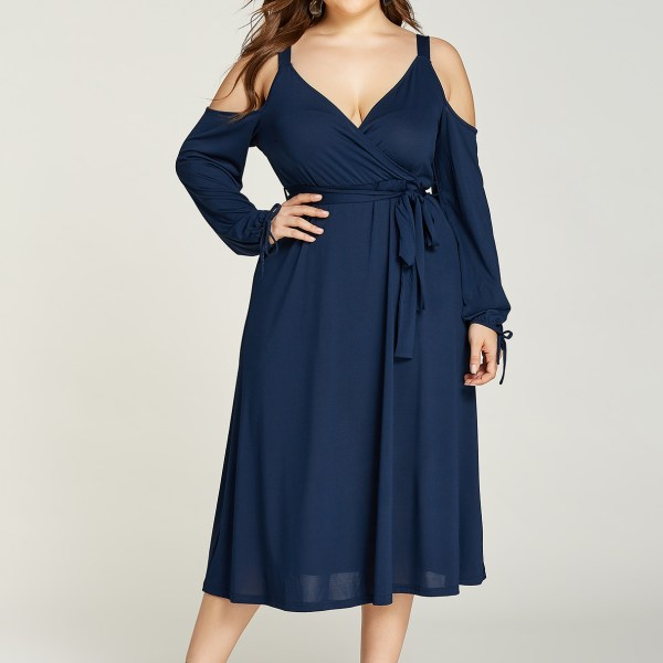 YOINS Plus Size Navy Belt Design Cold Shoulder Wrap Dress 2