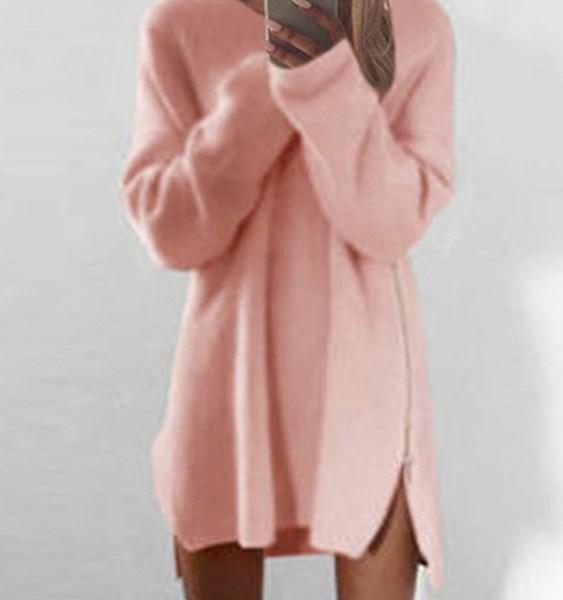 Pink Side Zipper Design Irregular Hem Loose Mini Dress 2