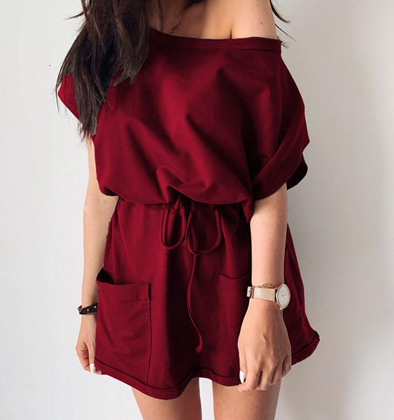 Burgundy Side Pockets One Shoulder Drawstring Waist Dress 2