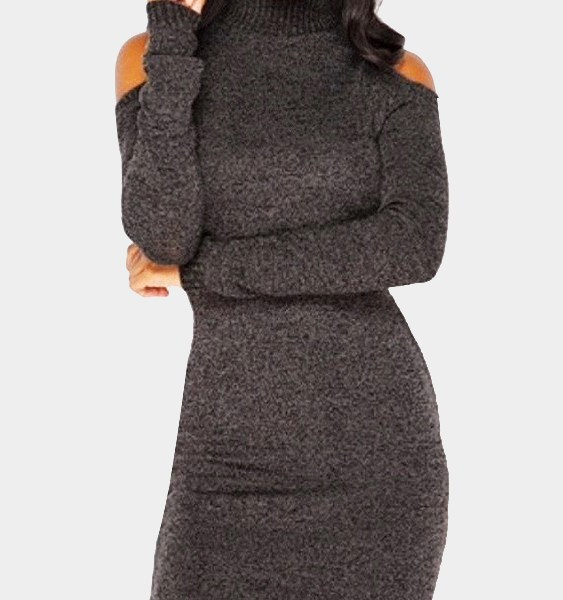 Coffee Cold Shoulder Perkins Collar Knitted Dress 2