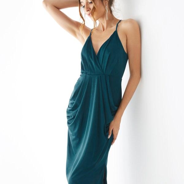 YOINS Green Deep V-neck Slit Hem Sleeveless Dress 2